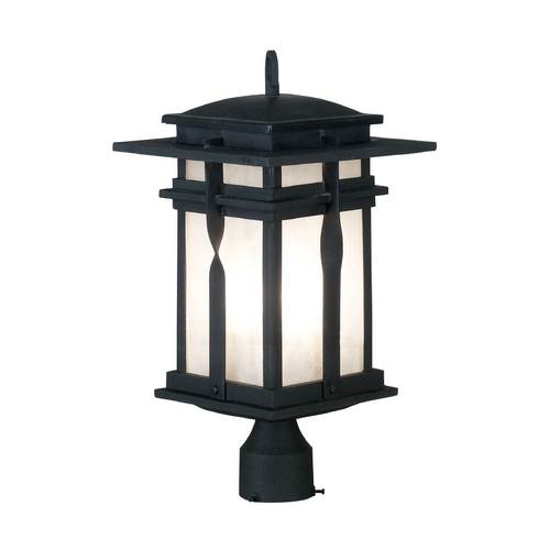 Kenroy Home Lighting Modern Post Light with White Glass in Black Finish 91905BL