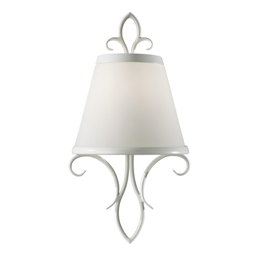 Feiss Lighting Sconce Wall Light with White Glass in Semi Gloss White Finish WB1486SGW