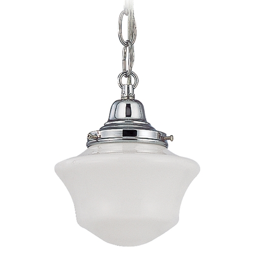 Design Classics Lighting 6-Inch Schoolhouse Mini-Pendant Light with Chain in Chrome Finish FC3-26 / GC6 / B-26