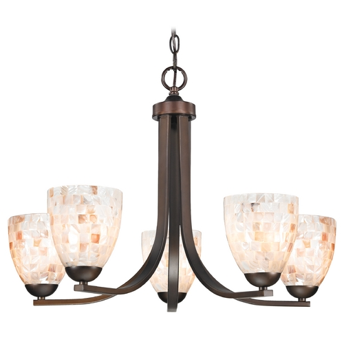 Design Classics Lighting Chandelier with Mosaic Glass in Bronze Finish 584-220 GL1026MB