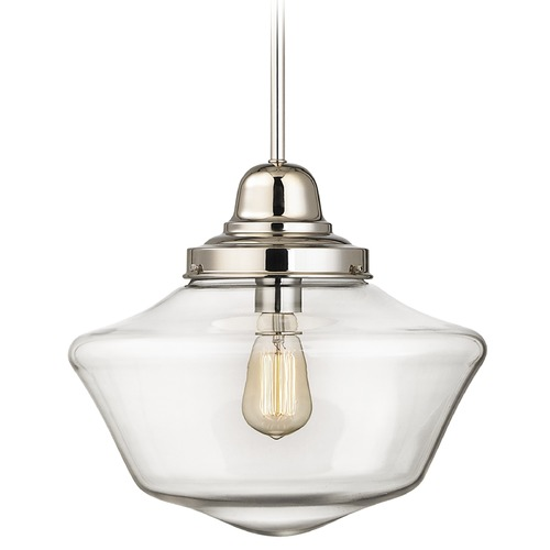 Design Classics Lighting 14-Inch Polished Nickel Clear Glass Schoolhouse Pendant Light FB6-15 / GA14-CL