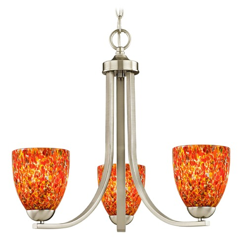 Design Classics Lighting Satin Nickel 3 Light Mini-Chandelier with Circus Glass Shade 5843-09 GL1012MB