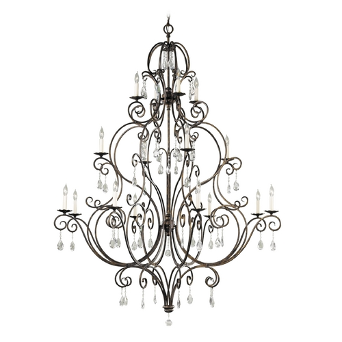 Feiss Lighting Feiss Chateau 3-Tier 16-Light Crystal Chandelier in Mocha Bronze F2110/8+4+4MBZ