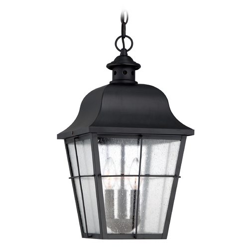 Quoizel Lighting Seeded Glass Outdoor Hanging Light Black Quoizel Lighting MHE1910K
