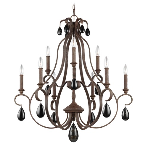 Feiss Lighting Feiss Lighting Dewitt Weathered Iron Chandelier F3071/9WI