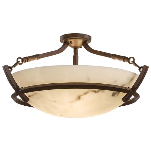 Minka Lavery Semi-Flushmount Light with Alabaster Glass in Nutmeg Finish 1687-14