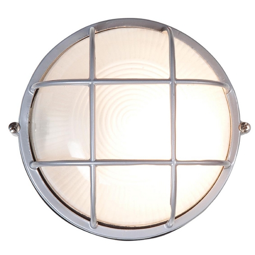 Access Lighting Outdoor Wall Light with White Glass in Satin Nickel Finish 20296-SAT/FST