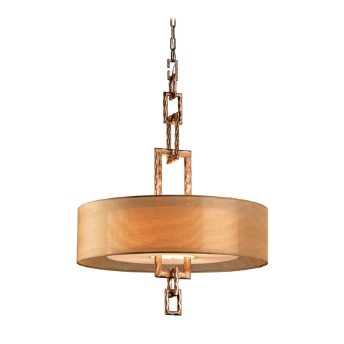 Troy Lighting Drum Pendant Light with Beige / Cream Shades in Bronze Leaf Finish F2875