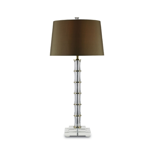 Currey and Company Lighting Table Lamp with Brown Shade in Brass/clear Crystal Finish 6558