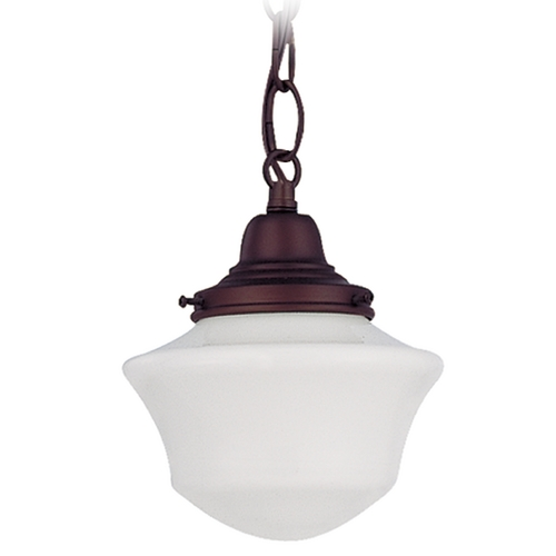 Design Classics Lighting 6-Inch Schoolhouse Mini-Pendant Light in Bronze Finish with Chain FC3-220 / GC6 / B-220