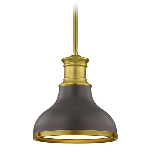 Design Classics Lighting Farmhouse Bronze with Brass Small Pendant Light 8.63-Inch Wide 1761-12 SH1778-220 R1778-12