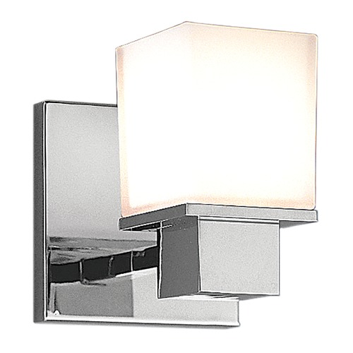 Hudson Valley Lighting Modern Sconce with White Glass in Polished Chrome Finish 4441-PC