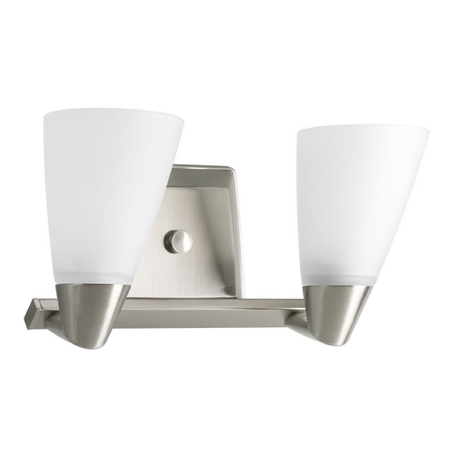 Progress Lighting Progress Bathroom Light with White Glass in Brushed Nickel Finish P2806-09