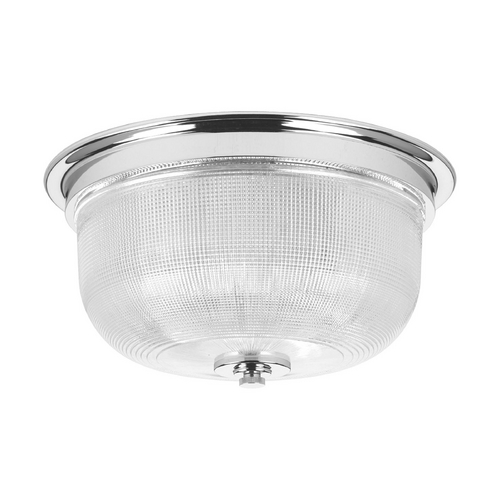 Progress Lighting Farmhouse Flushmount Light Prismatic Glass Chrome Archie by Progress Lighting P3740-15