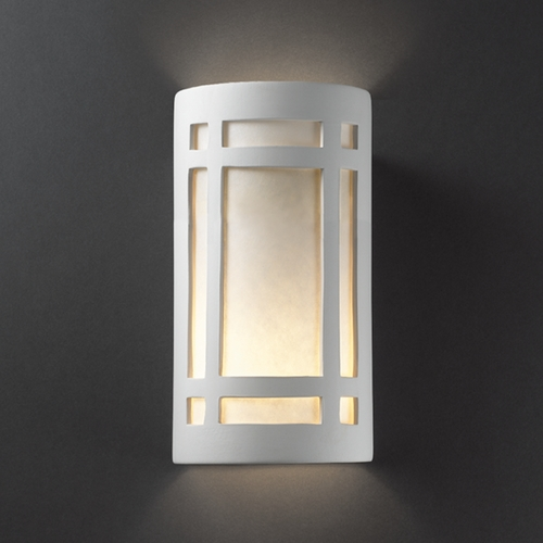 Justice Design Group Outdoor Wall Light with White in Bisque Finish CER-7495W-BIS
