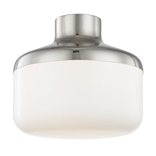 Mitzi by Hudson Valley Industrial Flushmount Light Polished Nickel Mitzi Livvy by Hudson Valley H144501L-PN