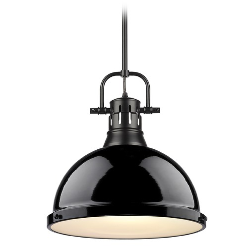 Golden Lighting Golden Lighting Duncan Black Pendant Light with Gloss Black Shade 3604-LBLK-BK