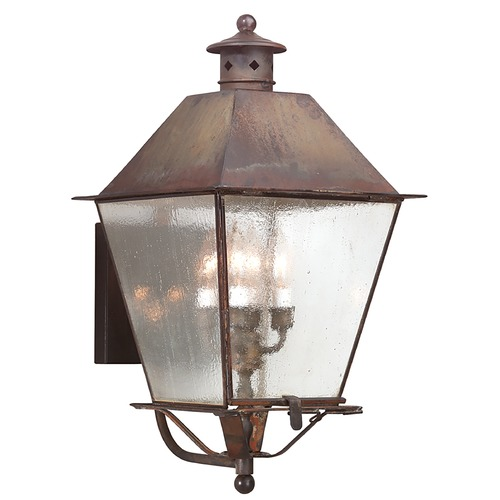Troy Lighting Outdoor Wall Light with Clear Glass in Natural Rust Finish BCD9137NR