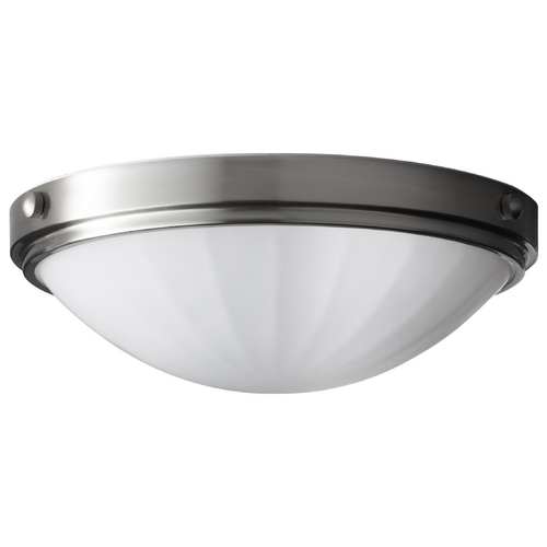 Home Solutions by Feiss Lighting Modern Flushmount Light with White Glass in Brushed Steel Finish FM352BS