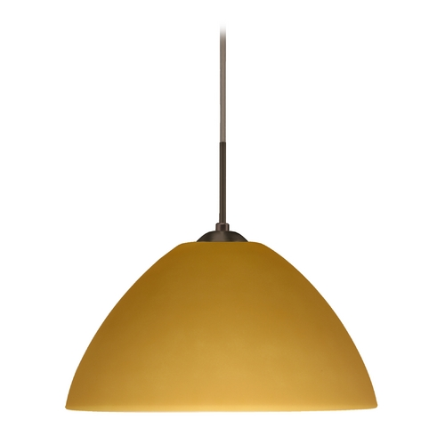 Besa Lighting Modern Pendant Light with Amber Glass in Bronze Finish 1JT-430180-BR