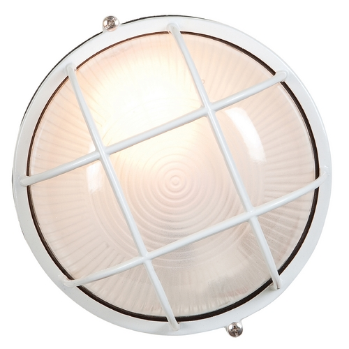 Access Lighting Outdoor Wall Light with White Glass in White Finish 20296-WH/FST