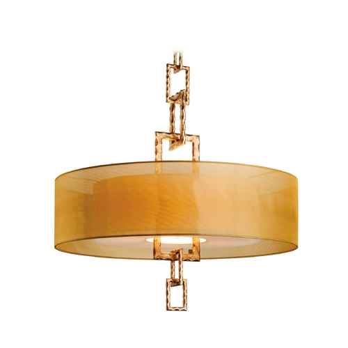 Troy Lighting Drum Pendant Light with Beige / Cream Shades in Bronze Leaf Finish F2876