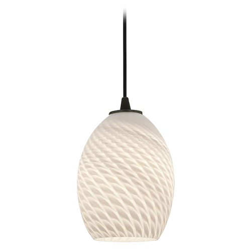 Access Lighting Modern Mini-Pendant Light with White Glass 28023-1C-ORB/WHTFB