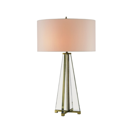 Currey and Company Lighting Modern Table Lamp with White Shades in Brass/clear Optic Crystal Finish 6557