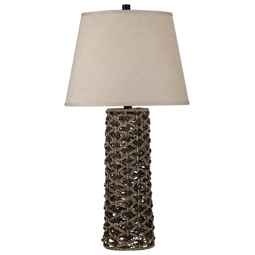 Kenroy Home Lighting Table Lamp with Taupe Shade in Light and Dark Rope Finish 20974