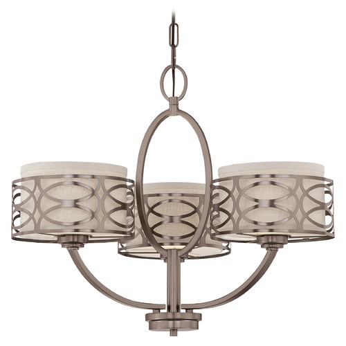 Nuvo Lighting Modern Chandelier with Beige / Cream Shades in Hazel Bronze Finish 60/4724