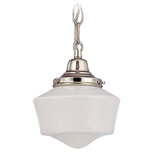 Design Classics Lighting 6-Inch Schoolhouse Mini-Pendant Light with Chain in Polished Nickel FC3-15 / GF6 / B-15