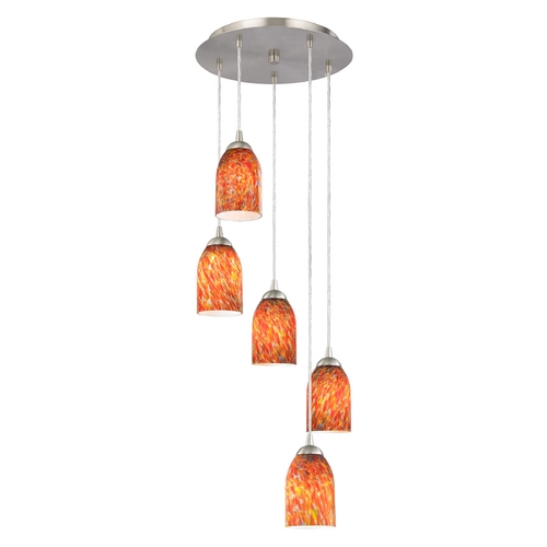 Design Classics Lighting Modern Multi-Light Pendant with Art Glass and Five Lights 580-09 GL1012D