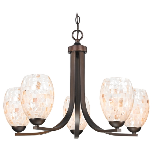 Design Classics Lighting Chandelier with Mosaic Glass in Neuvelle Bronze Finish 584-220 GL1034