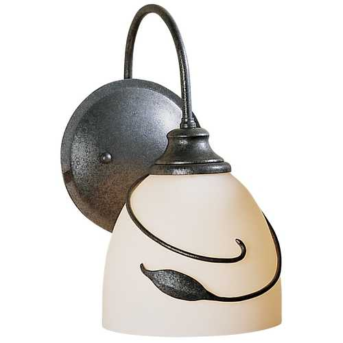 Hubbardton Forge Lighting Sconce with White Glass in Forged Silver Finish 205231L-20-G01