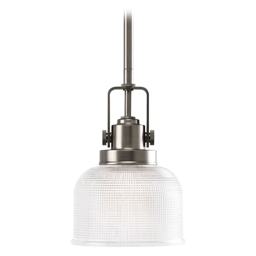 Progress Lighting Prismatic Glass Mini-Pendant Light Antique Nickel Progress Lighting P5173-81