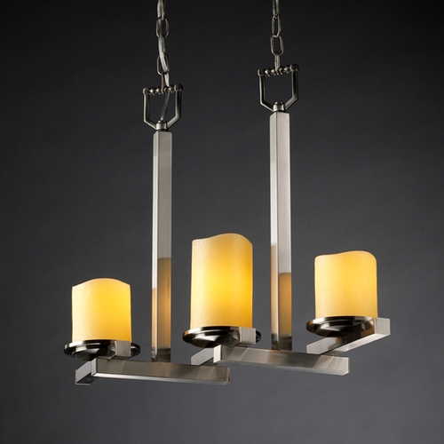 Justice Design Group Justice Design Group Candlearia Collection Pendant Light CNDL-8777-14-AMBR-NCKL