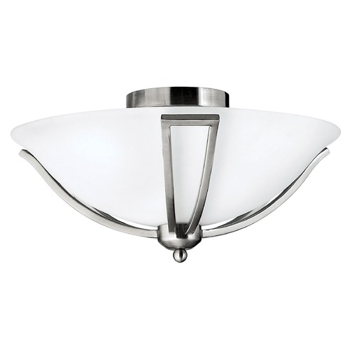 Hinkley Lighting Semi-Flushmount Light with White Glass in Brushed Nickel Finish 4660BN