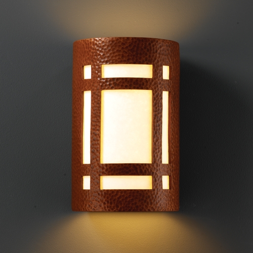 Justice Design Group Outdoor Wall Light with White in Hammered Copper Finish CER-7495W-HMCP