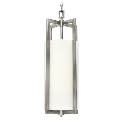 Hinkley Lighting Hinkley Lighting Hampton Antique Nickel Mini-Pendant Light with Cylindrical Shade 3217AN-GU24