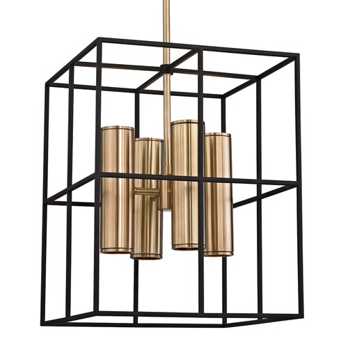 Hudson Valley Lighting Hudson Valley Lighting Lagrange Aged Brass Pendant Light with Rectangle Shade 4218-AGB
