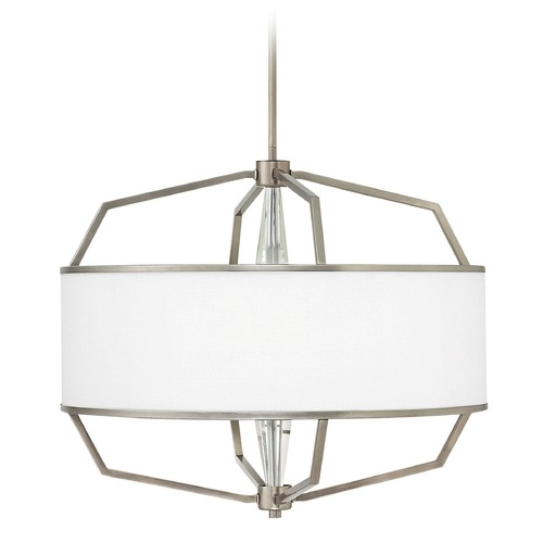 Hinkley Lighting Hinkley Lighting Larchmere English Nickel Pendant Light with Drum Shade 4484EN