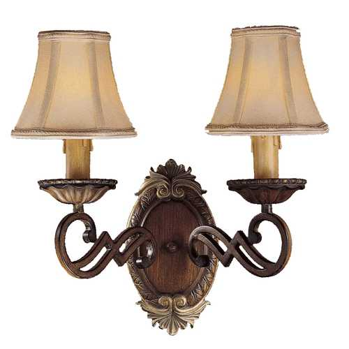 Minka Lavery Sconce Wall Light with Beige / Cream Shades in Belcaro Walnut Finish 1944-126