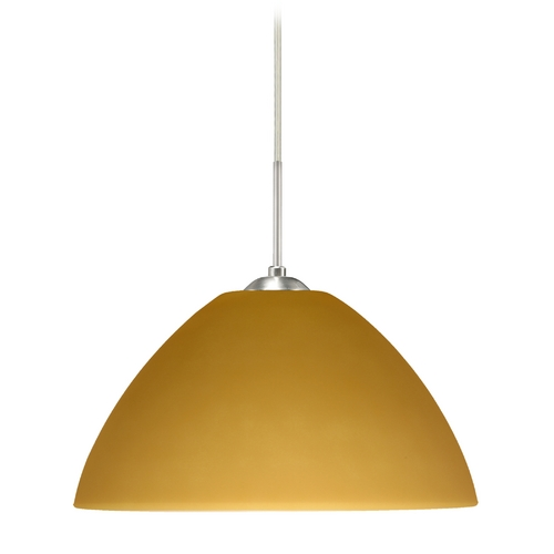 Besa Lighting Modern Pendant Light with Amber Glass in Satin Nickel Finish 1JT-430180-SN