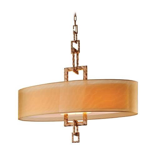 Troy Lighting Drum Pendant Light with Beige / Cream Shades in Bronze Leaf Finish F2878