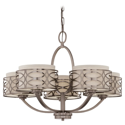 Nuvo Lighting Modern Chandelier with Beige / Cream Shades in Hazel Bronze Finish 60/4725