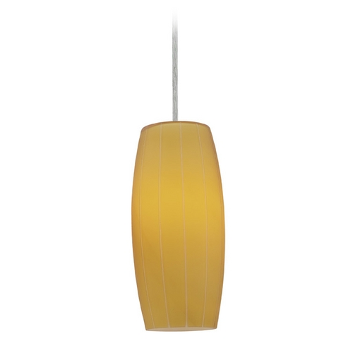 Access Lighting Access Lighting Sydney Cognac Brushed Steel Mini-Pendant with Oblong Shade 28070-1C-BS/AMB
