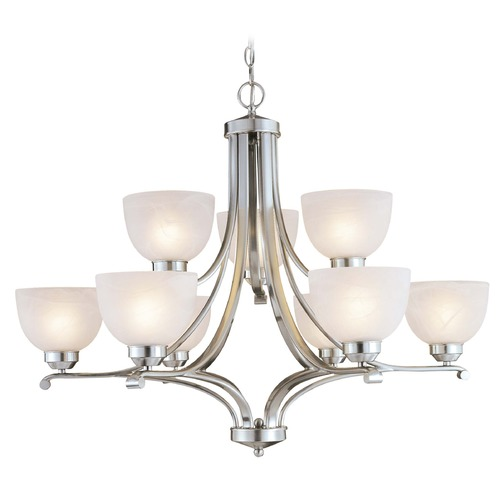 Minka Lavery Energy Star 9-Lt Chandelier in Brushed Nickel Finish - Etched Marble Glass 1429-84-PL