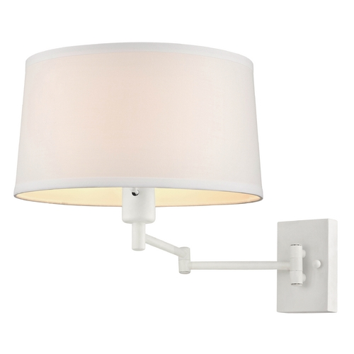 Design Classics Lighting White Swing Arm Wall Lamp with White Drum Shade  2293-WH