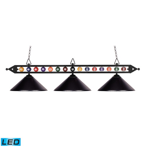 Elk Lighting Elk Lighting Designer Classics Matte Black LED Billiard Light with Conical Shade 190-1-BK-M-LED