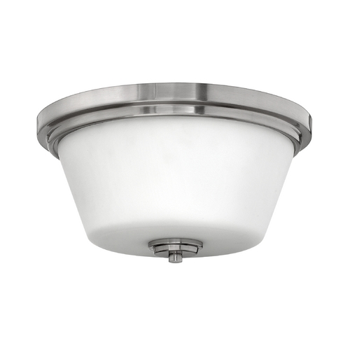 Hinkley Lighting Flushmount Light with White Glass in Brushed Nickel Finish 5551BN